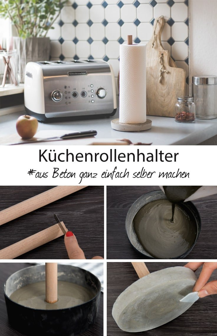 diy k chenrollenhalter aus beton selber machen anleitung. Black Bedroom Furniture Sets. Home Design Ideas